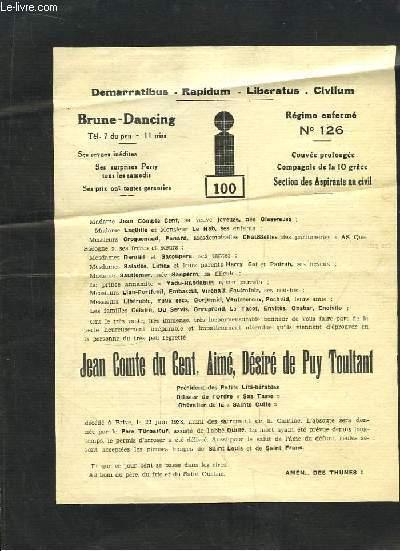 Liste du Père Cent. Régime enfermé n°126. Section des Aspirants au civil.