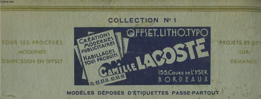 Collection N°1 de créations modernes publicitaires, habillages tous produits. Catalogue de modèles déposés d'étiquettes passe-partout.