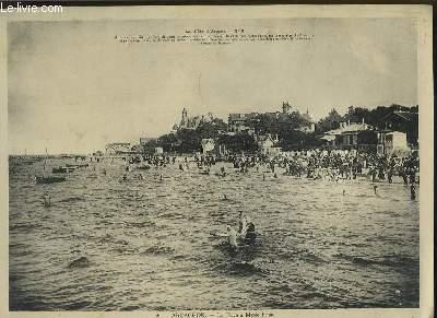 1 photographie en noir et blanc de la plage d'Arcachon à marée haute. La Cote d'Argent n°6