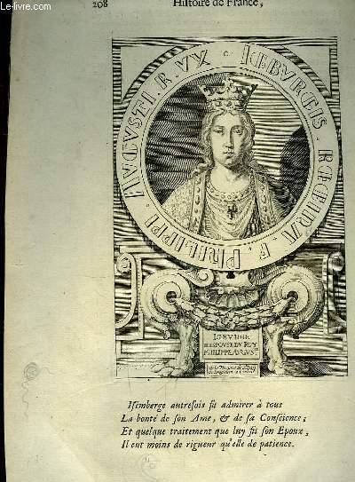 Une Gravure, XVIIIe si�cle, en noir et blanc d'Igburge, Epouse du Roy Philippe Auguste