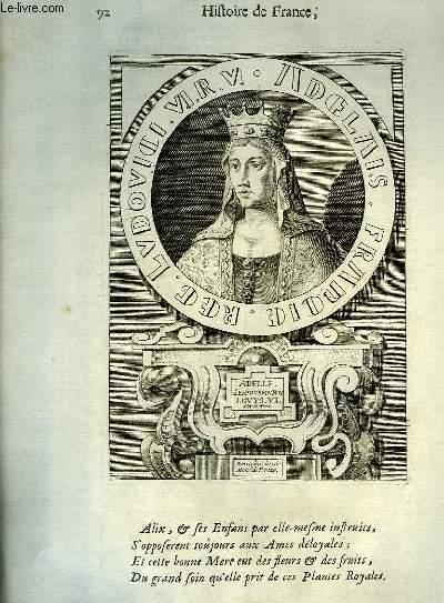 Une Gravure, XVIIIe si�cle, en noir et blanc d'Adelle, Epouse du Roi Louys VI dit Le Gros.