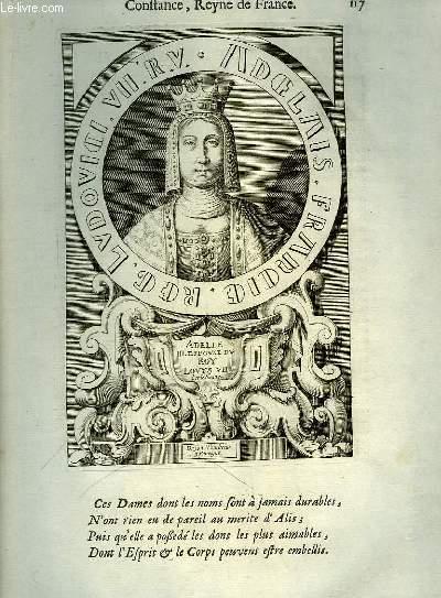 Une Gravure, XVIIIe siècle, en noir et blanc d'Adelle III, Epouse du Roy Louys VII, dit Le Jeune.