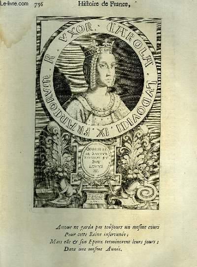 Une Gravure, XVIIIe siècle, en noir et blanc de Charlotte de Savoye, Epouse du Roy Louys XI