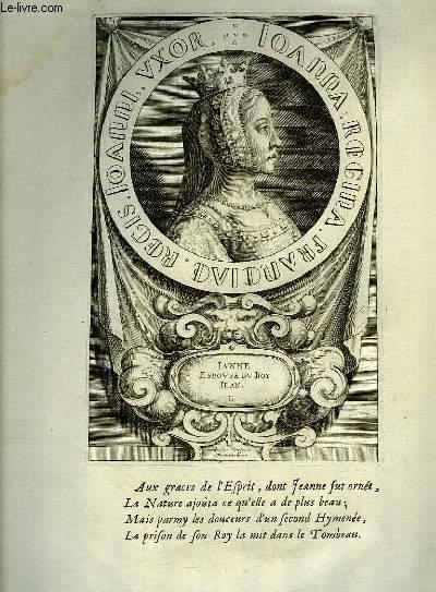 Une Gravure, XVIIIe siècle, en noir et blanc de Jeanne, Epouse du Roi Jean.