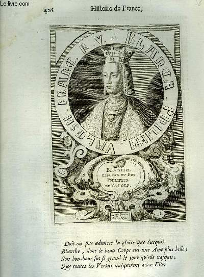 Une Gravure, XVIIIe siècle, en noir et blanc de Blanche, Espouse du Roi Philippes de Valois. De son Tombeau à St-Denys.