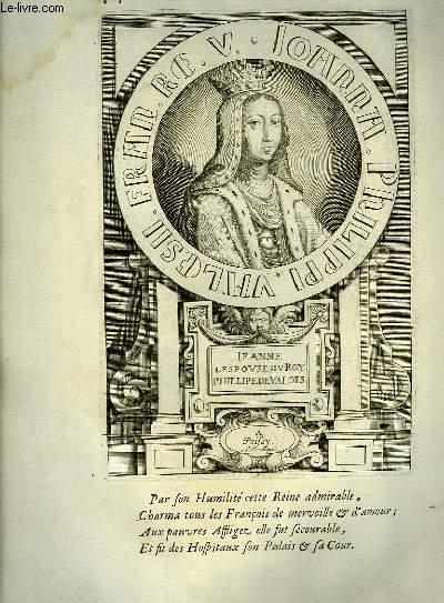 Une Gravure, XVIIIe si�cle, en noir et blanc de Jeanne, l'Epouse du Rou Philippe de Valois, � Poissy.