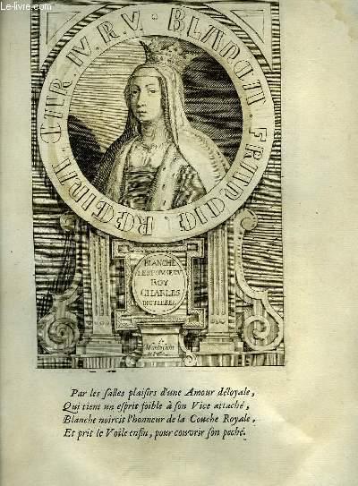 Une Gravure, XVIIIe siècle, en noir et blanc de Blanche, l'Epouse du Roy Charles dit Le Bel et de Marie, Epouse du Roy Charles IV dit Le Bel.