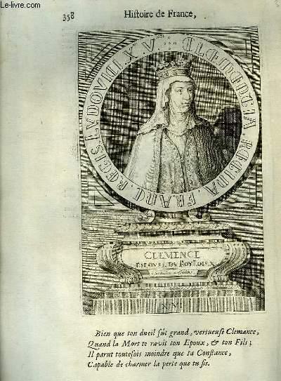 Une Gravure, XVIIIe siècle, en noir et blanc de Clemence, Epouse du Roi Louis X.