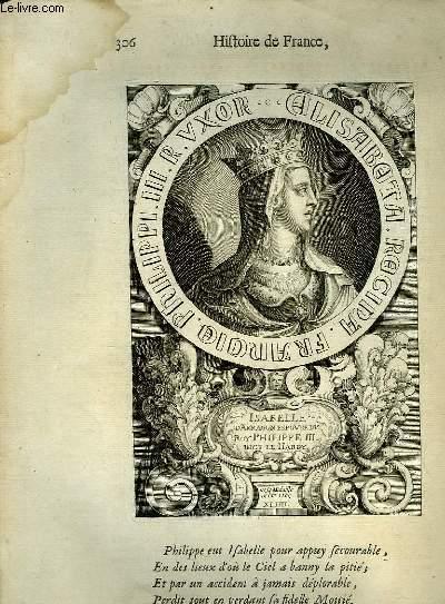 Une Gravure, XVIIIe siècle, en noir et blanc de Isabelle d'Arragon, Epouse du Roi Philippe III, dit Le Hardy.