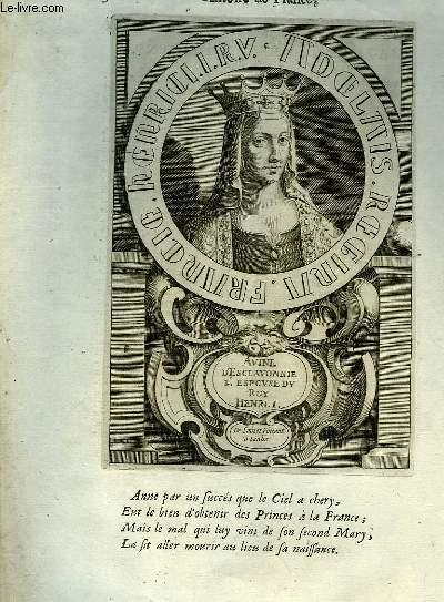 Une Gravure, XVIIIe siècle, en noir et blanc de Avine d'Esclavonnie II, Espouse du roi Henri 1.