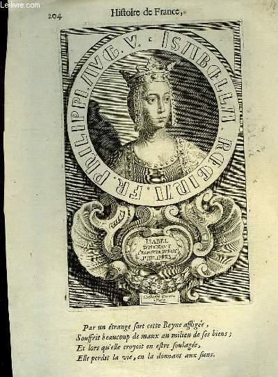 Une Gravure, XVIIIe siècle, en noir et blanc d'Isabel d'Henaut, Epouse du Roy Philippes Auguste