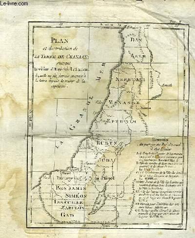 Plan et distribution de la Terre de Chanaan, suivant la vision d'Ezéchiel Ch. XLVIII, laquelle ne fut jamais exécutée à la lettre depuis le retour de la captivité.