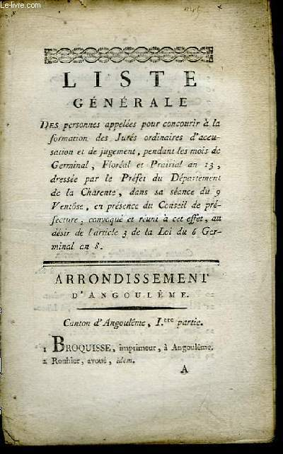 Liste générale des personnes appelées pour concourir à la formation des Jurés ordinaires d'accusation et de jugement, pendant l'année 1805, dressée par le Préfet du Département de la Charente.