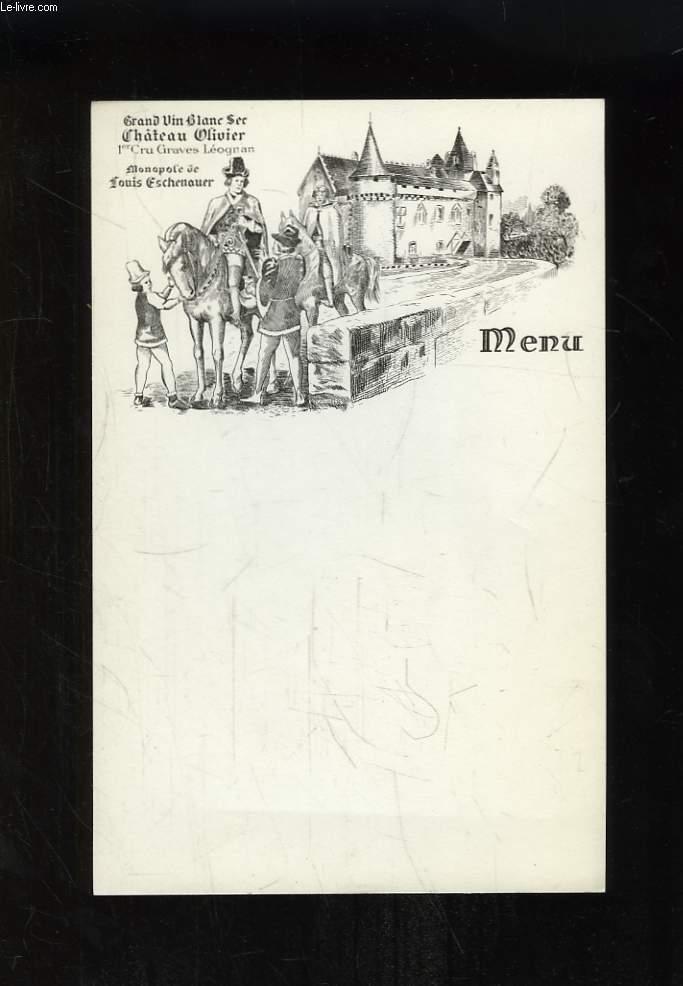 Lot de 57 feuilles de Menu, vierges, à l'en-tête du Château Olivier, Grand Vin Blanc Sec, 1er Cru Graves Léognan, Monopole de Louis Eschenauer.