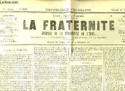 La Fraternité n°629 - 7ème année. Journal de la Démocratie de l'Aude.