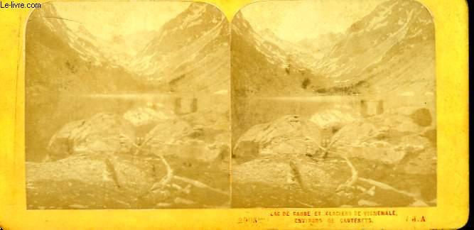 1 planche composée de 2 photographies (identiques) anciennes albuminées : Lac de Gaube et Glaciers de Vignemale, Environs de Cauterets (n°2005 bis)