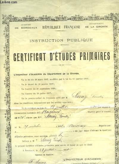 Instruction Publique. Certificat d'Etudes Primaires délivré à M. Faustin S. le 28 juillet 1920