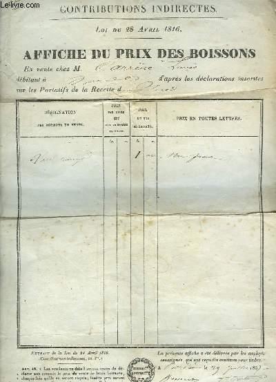 Affiche du Prix des Boissons : Vin rouge en vente chez Louis Carrère débitant. Contributions Indirectes. Loi du 28 avril 1816