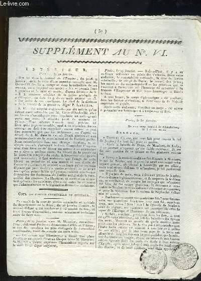 Supplément au Bulletin du Département de la Charente Inférieur N°VII : Cour de Justice criminelle et spéciale - Informations du Royaume d'Italie