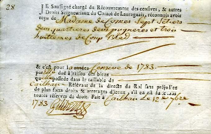 Quittance de la Censive du Roy, datée de Septembre 1783, établi par le Recouvrement des Censives, & autres Droits Seigneuriaux du Comté de Lauraguais.