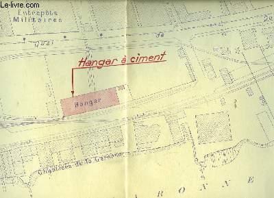 Plan d'un Hangar à Ciment, à Bordeaux Bastide, sur les Rives de la Garonne, Quai de Queyries.