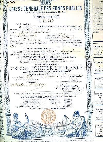 Une obligation de 500 Francs, de la Caisse Générale des Fonds Publics.