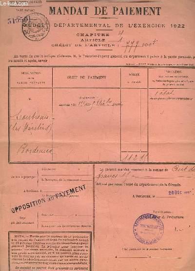 Mandat de Paiement - Budget département de l'Exercice 1922 - Coutreau (Les Héritiers)