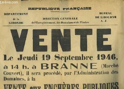 1 affiche de la Vente aux Enchères Publiques de Lits, Châlits, Matelas, Traversins, Armoires, Tables, Poëles ...