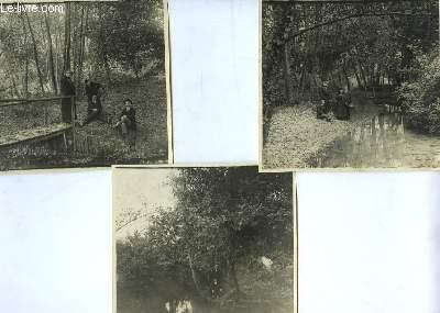 Lot de 3 photographies anciennes, en noir et blanc , d'un groupe de 4 personnes dans un parc, situé à Saint-Michel près Podensac
