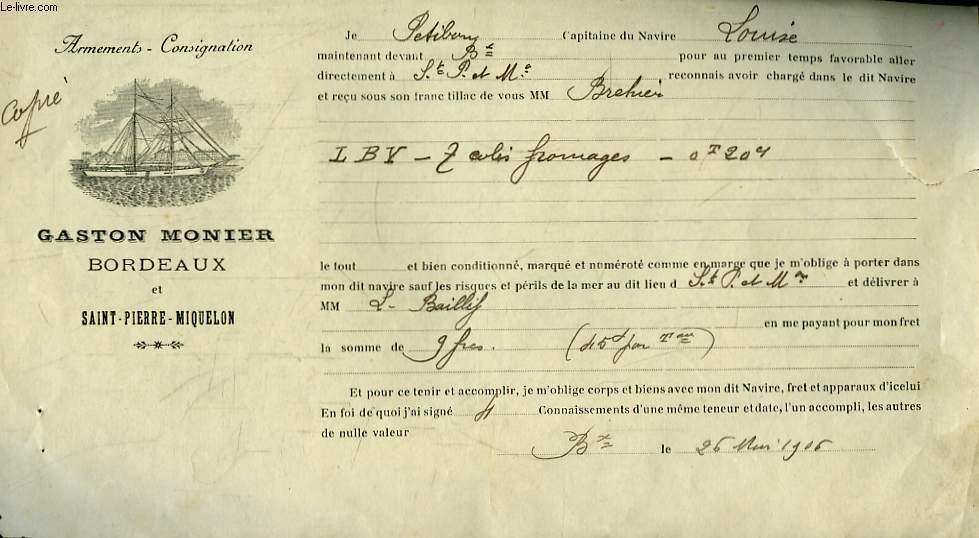 Copie d'un Reçu de Livraison, du Capitaine P. du Navire