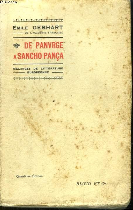 De Panurge à Sancho Pança. Mélanges de Littérature Européenne.