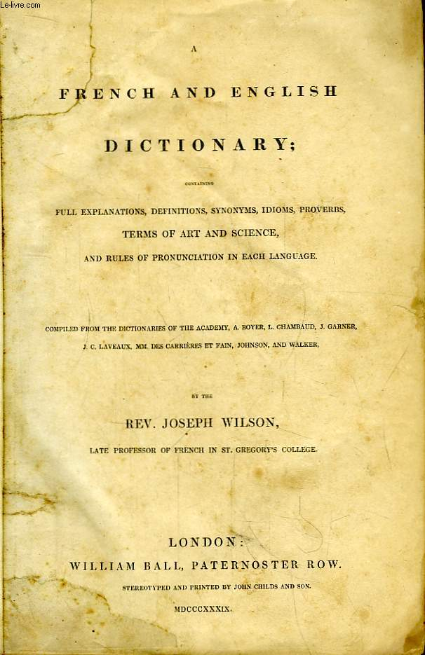 A French and English Dictionary.