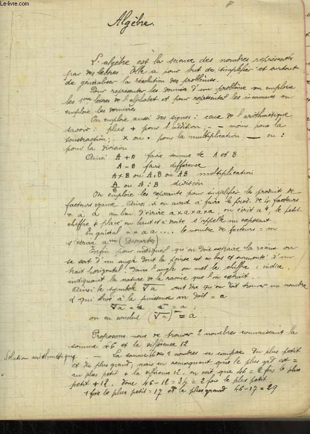 Cahier Scolaire d'Algèbre. Manuscrit.