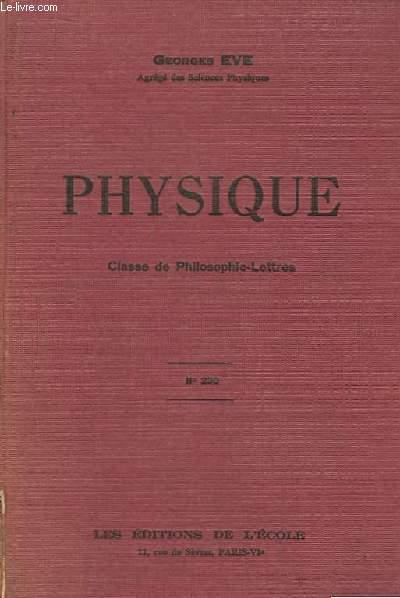 Physique, Classe de Philosophie-Lettres. N°230