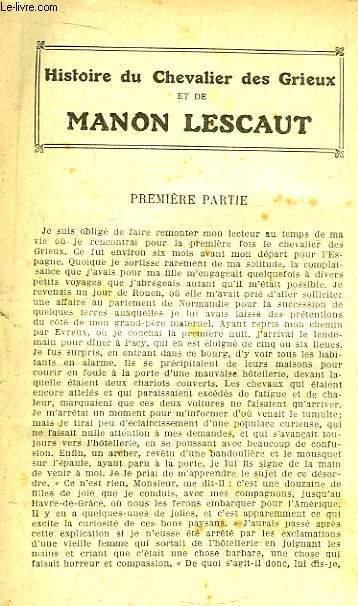 Histoire du Chevalier des Grieux et de Manon Lescaut. 1ère partie