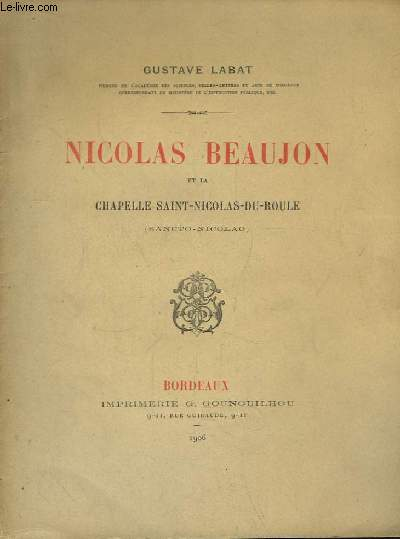 Nicolas Beaujon et la Chapelle Saint-Nicolas-du-Roule (Sancto-Nicolao)