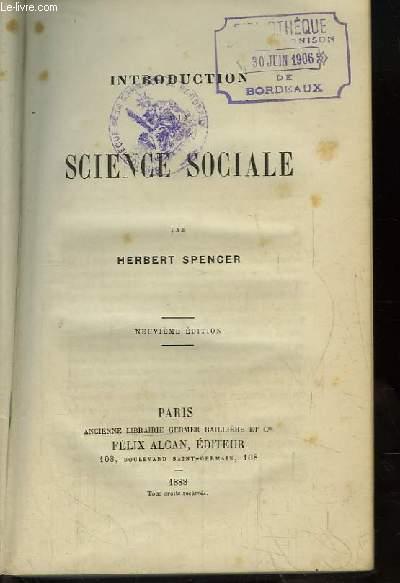 Introduction à la Science Sociale.