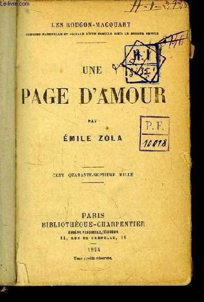 Une Page d'Amour. Les Rougon-Macquart.