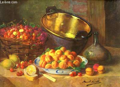 Reproduction en couleurs d'une Nature Morte, représentant une table de fruits.