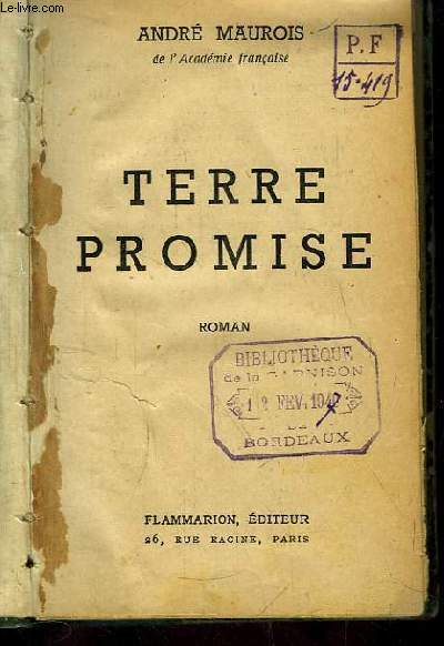Terre Promise. Roman
