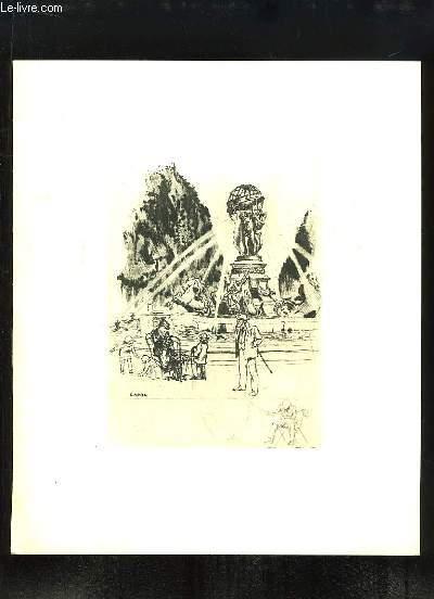 Une gravure en Eau-Forte de la Fontaine de Carpeaux. Accompagné d'un poème de Tristan Derème.