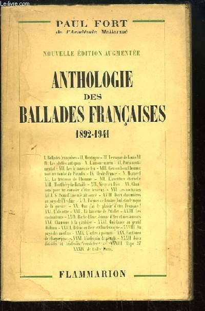 Anthologie des Ballades françaises, 1892 - 1941