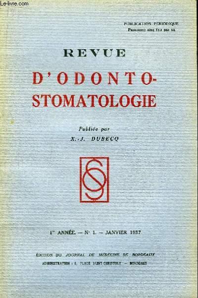 Revue d'Odonto-Stomatologie. 1ère année - N°1 : Recherches morphologiques, physiologiques et cliniques sur le ménisque mandibulaire.