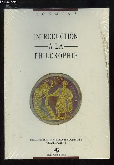 Introduction à la Philosophie.