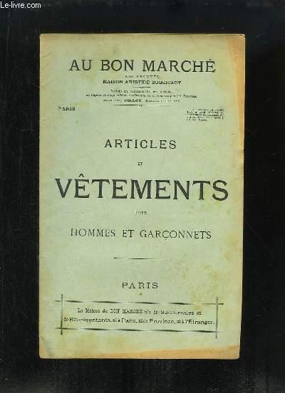 Catalogue d'Articles et Vêtements pour Hommes et Garçonnets