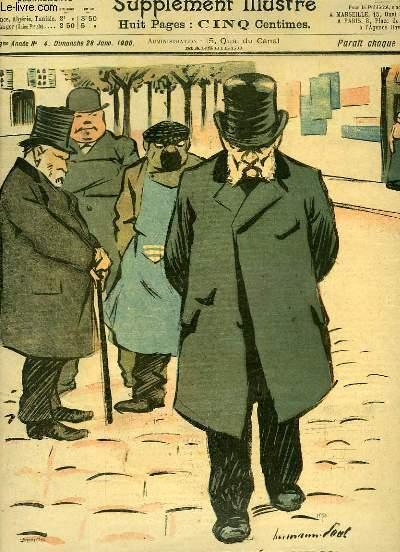 Le Petit Marseillais, supplément illustré N°4 - 3ème année : La Veille de l'Election - En bordée, par AUDOUIN - J'attends l'Exposition pour voir les nouveaux modèles, par A. SOREL ...