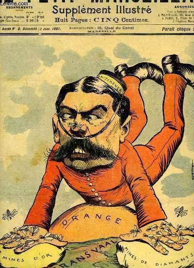 Le Petit Marseillais, supplément illustré N°2 - 4ème année : Position du généralissime anglais sur le Transvaal et l'Orange, par LEBEGUE - La Dame de Compagnie, par F. BAC ...