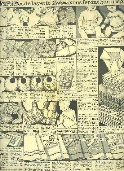 Catalogue La Redoute, de layettes, pantoufles pour enfants, blouses et tabliers pour dames, vêtements pour hommes ...