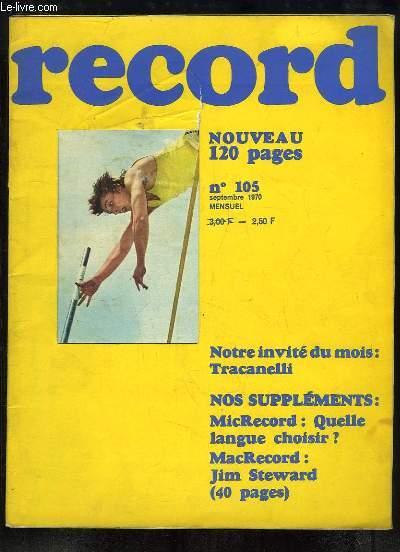 Record N°105 : Tracanelli - Quelle langue choisir - Jim Steward - Les Philippines - La République des Muchachos - Quand les cerfs brament - Pétronille - Les Instituteurs ...