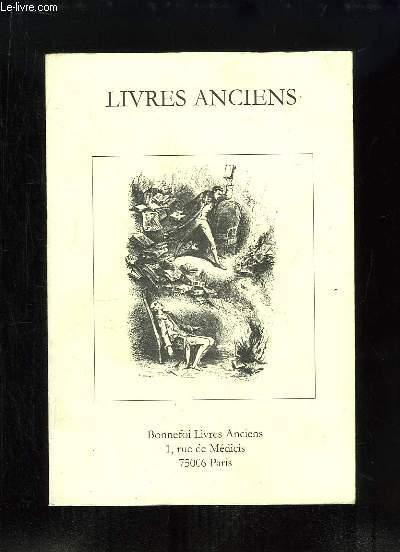 Catalogue n°88 de Livres Anciens, de la Librairie